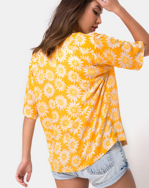 Hawaiian Shirt in Sunkissed Yellow Floral by Motel