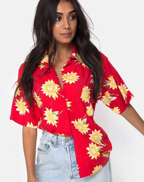 Hawaiian Shirt in Sunny Days Red by Motel
