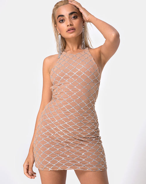 Hedi Bodycon Dress in Cross Linked Glitter Net Tan by Motel