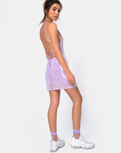 Hedi Dress in Matte Mini Sequin Lilac by Motel