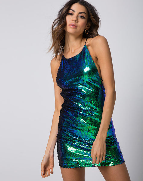 Hedi Dress in Fishcale Sequin Green Iridescent by Motel