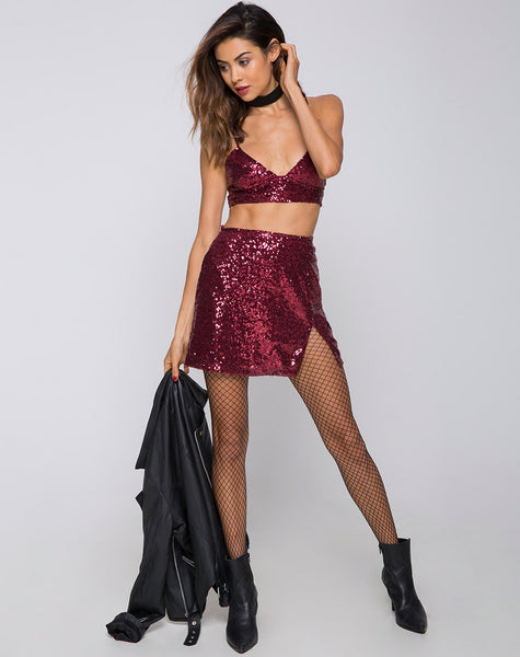 Helena Mini Skirt in Mini Sequin Burgundy by Motel