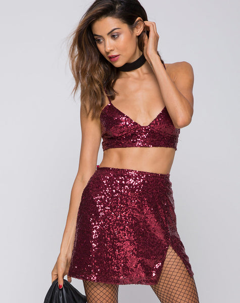 ea9b1890b963 High Waist Mini Sequin Burgundy Mini Skirt | Helena - Motel Rocks –  motelrocks.com