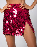 Helena Skirt in Red Cherry Disc Sequin by Motel