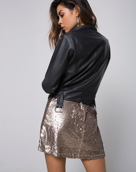 Helena Skirt in Sequin Taupe by Motel