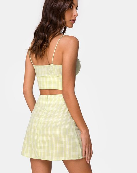 Hema Crop Top in Sage Check by Motel