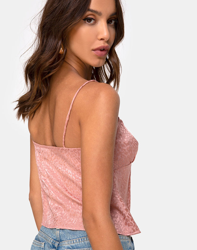 Hera Crop Top in Satin Cheetah Dusty Pink by Motel