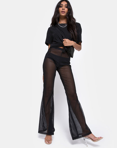 Herlom Flare Trouser in Black Fishnet by Motel