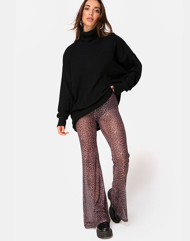 Herlom Flare Trouser in Rar Leopard Mesh by Motel