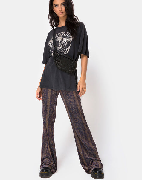 Herlom Trouser in Velvet Brown Snake By Motel