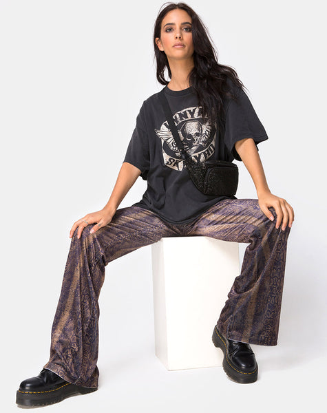Herlom Flare Trouser in Velvet Brown Snake By Motel