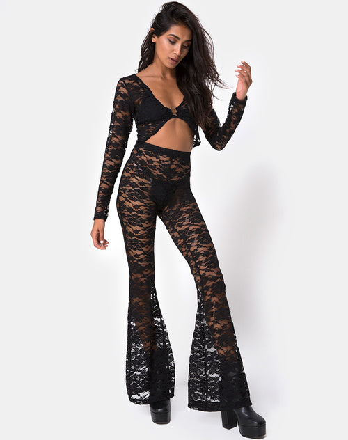 Herlom Flare Trouser in Lace black by Motel