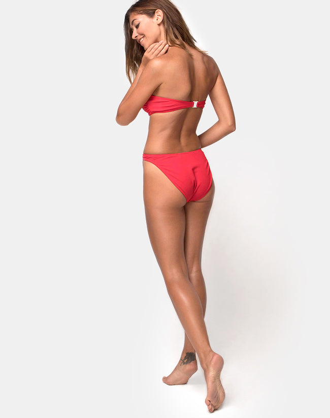 High Rise Bikini Bottom in Textured Baewatch Red by Motel