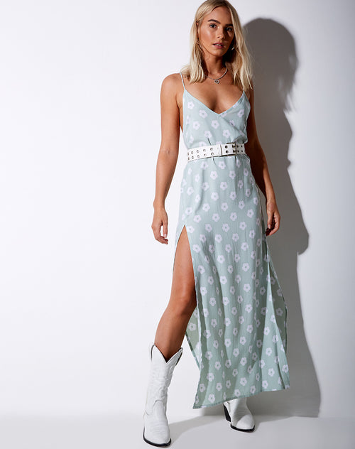 Hime Maxi Dress in Sage Daisy
