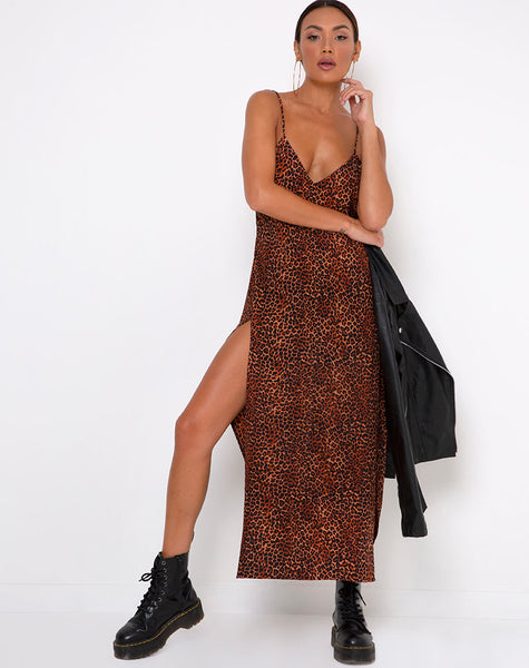 Hime Maxi Dress in Ditsy Leopard Orange by Motel