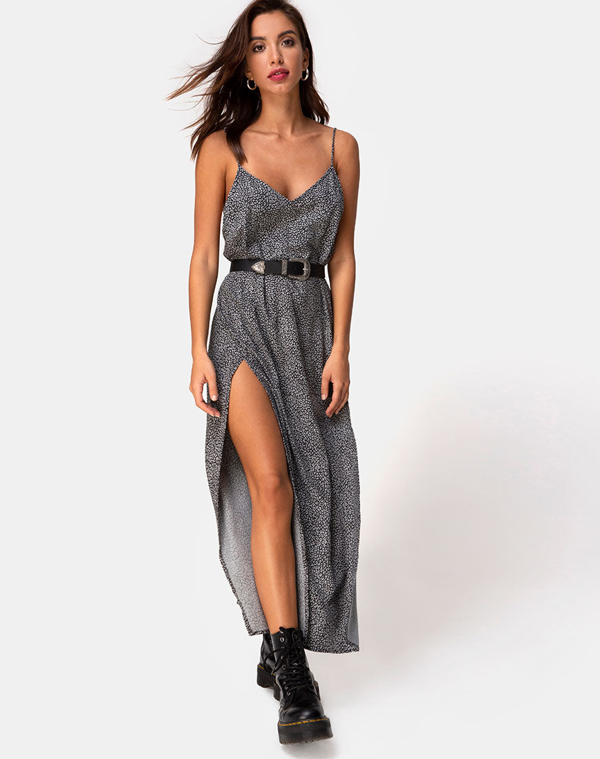 Hime Maxi Dress in Ditsy Leopard Grey by Motel 8