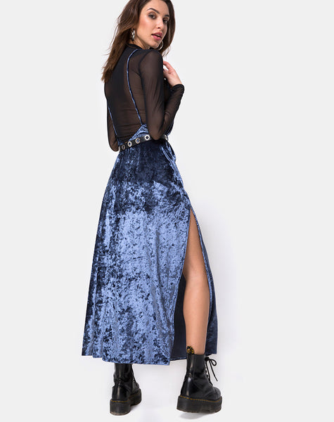 Hime Maxi Dress in Velvet Blue by Motel