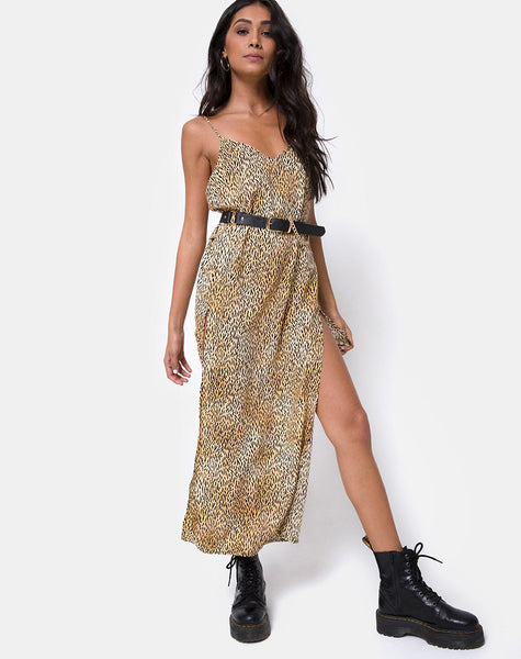 Hime Maxi Dress in Mini Tiger Brown