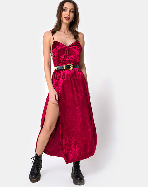 Hime Maxi Dress in Burgundy Velvet by Motel