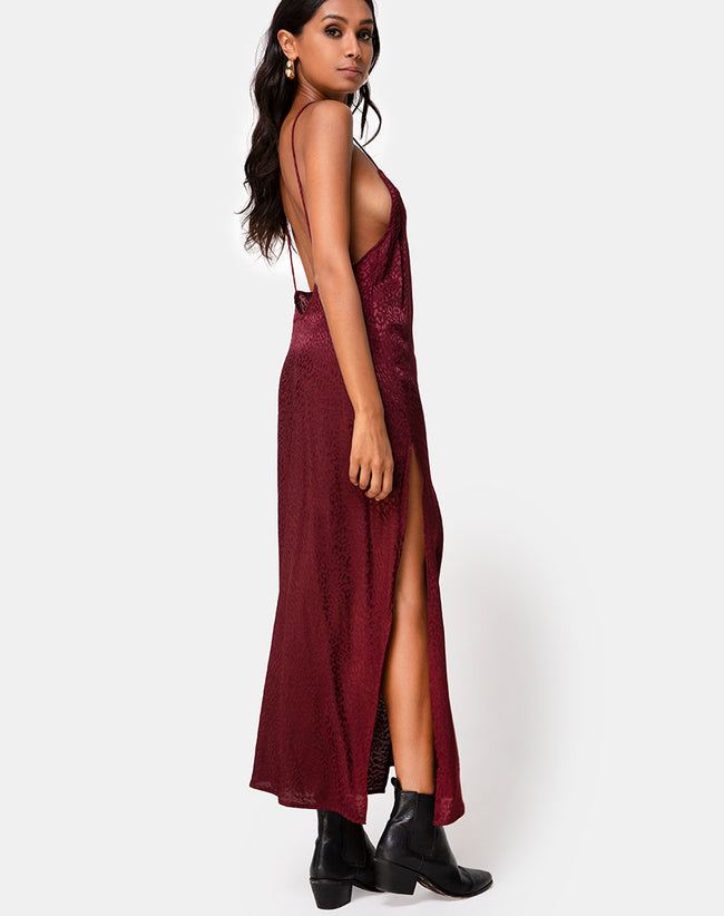 Hime Dress in Satin Cheetah Burgundy by Motel