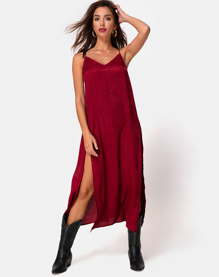 Sanna Slip Dress in Plaid Red Black by Motel