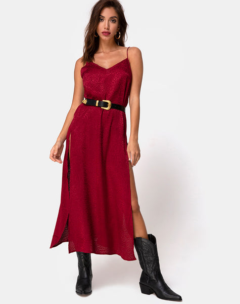 Hime Maxi Dress in Satin Cheetah Raspberry by Motel