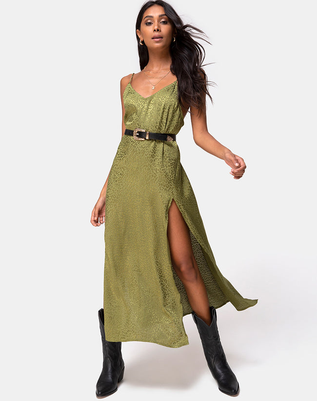 Hime Dress in Satin Cheetah Khaki by Motel