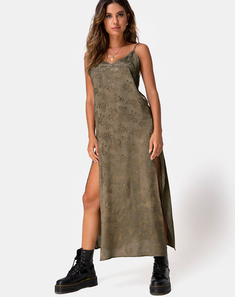 334b139a593e Hime Maxi Dress in Satin Rose Silver Grey by Motel – motelrocks.com