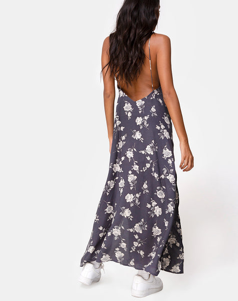 Hime Maxi Dress in White Rose Grey by Motel