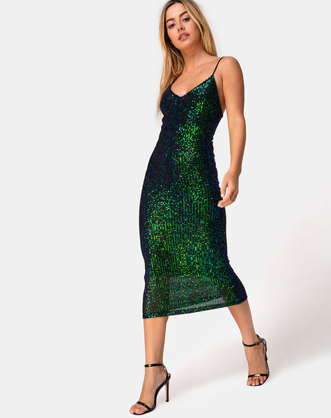 Humia Midi Dress in Drape Net Sequin Iridescent Green