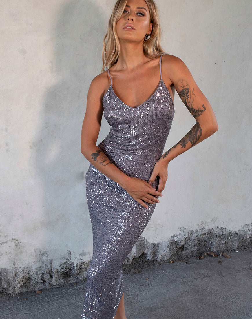 Humia Dress in Drape Net Sequin Silver by Motel 1