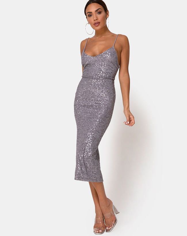 Humia Dress in Drape Net Sequin Silver