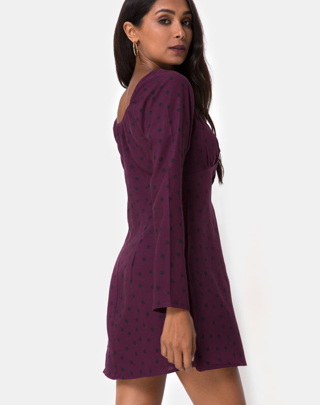 Ilova Dress in Skater Polka Wine by Motel