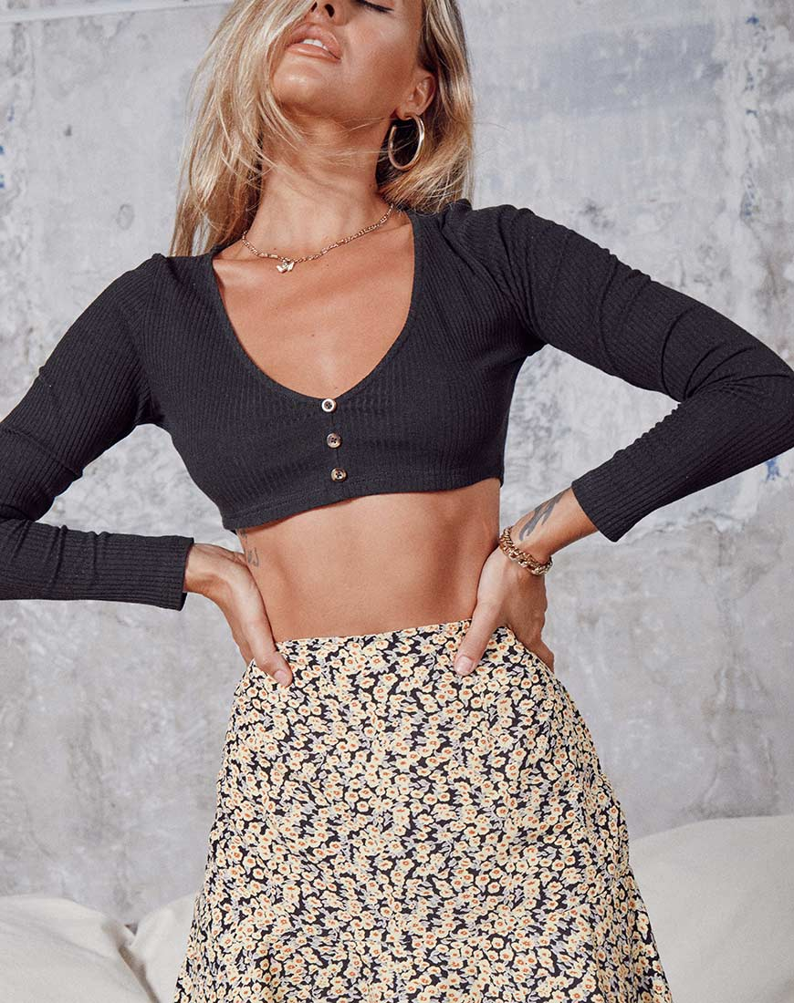 Gato Crop Top in Rib Black 10