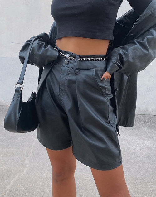 Dab Short in PU Matte Black by Motel