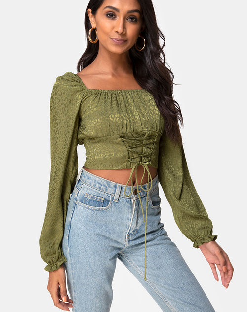 Iris Crop Top in Satin Cheetah Khaki by Motel