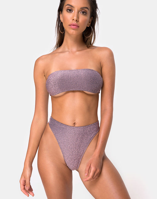 Izarla Bikini Tube Top in Gunmetal Glitter By Motel