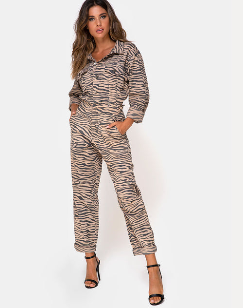Jampa Jumpsuit in Zip's Zebra Taupe by Motel