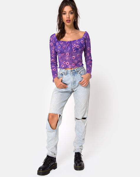 Janina Top in Daisy Daze Purple