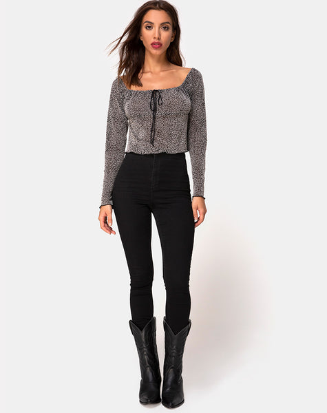 Janina Top in Ditsy Leopard Grey Flock by Motel