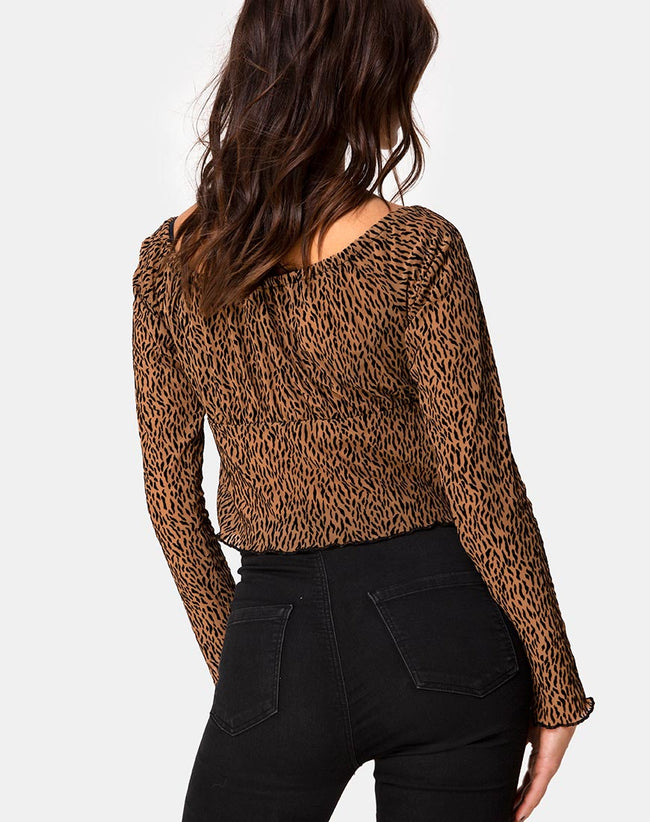 Janina Top in Animal Flock Tan Net by Motel