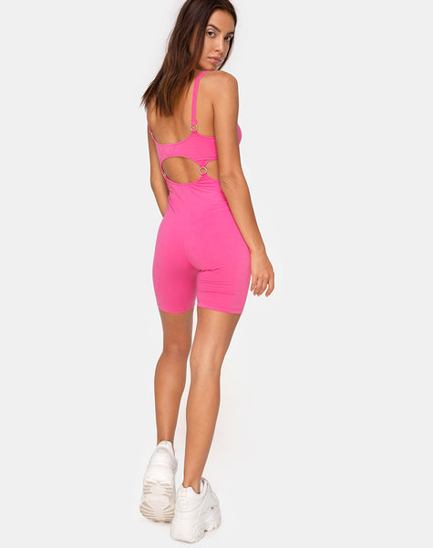 Jaso Unitard in 80's Pink by Motel