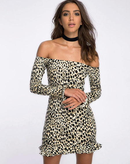 Ennete Off The Shoulder Dress in Flock Dalmatian Black and White by Motel