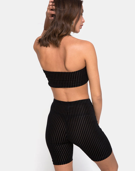 Tube Top in Velvet Sheer Stripe Black  X Princess Polly