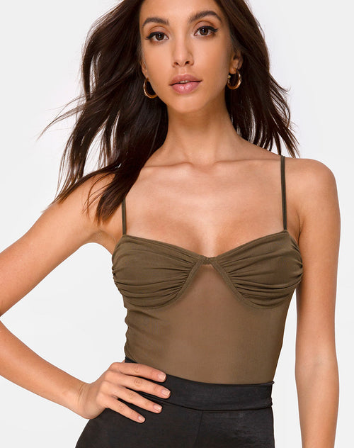 Jelita Bodice in Net Olive by Motel