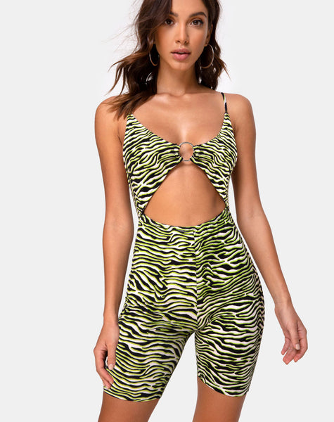 Jepu Unitard in Zebra Fluro Green