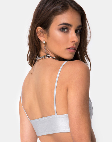Jessie Bralet Top in Silver Metallic by Motel