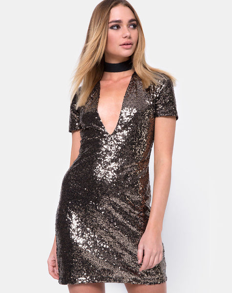 Jewel Mini Dress in  Mini Fleck Sequin Black and Gold by Motel