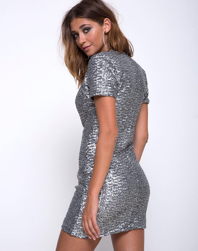 Jewel Mini Dress in Mini Cluster Sequin Silver by Motel