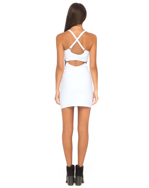 Jezabel Cut Out Dress in White By Motel